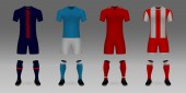 Set of 3D realistic template soccer jersey PSG, Napoli, Liverpool, Red Star t-shirt with pants and socks on shop backdrop. Mockup of football team uniform