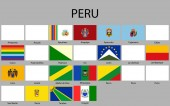 all Flags of departments of Peru. Vector illustraion. flag set