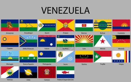 Illustration pour Tous les États drapeaux du Venezuela. Illustration vectorielle - image libre de droit