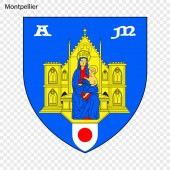 Emblem of Montpellier City of France Vector illustration