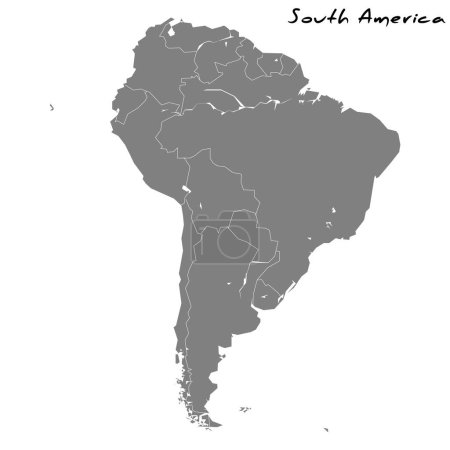 High quality map of South America