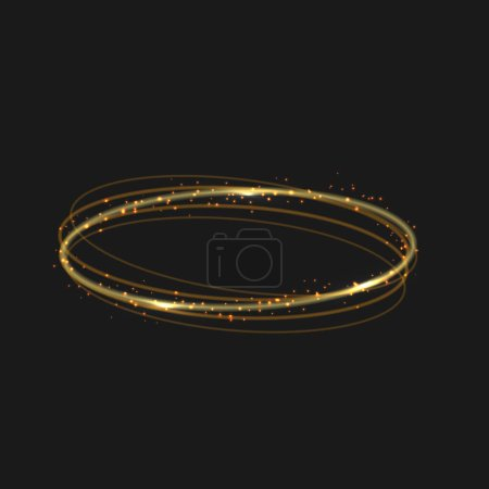 Illustration for Vector circle golden light tracing effect. Glowing magic fire ring trace - Royalty Free Image