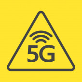 New 5th generation of internet 5G network wireless warning sign EPS 10