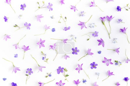 Seamless pattern of bellflowers and forget-me-nots...