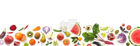 Photo for Seamless pattern with different fruits and vegetables isolated on white background - Royalty Free Image