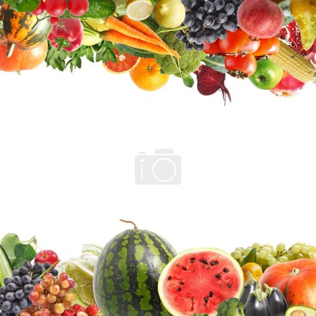 Photo for Frame made of fruits and vegetables, copy space. - Royalty Free Image