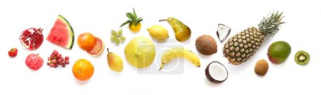 Photo for Fruits isolated on white background, top view. Creative composition of tropical fruits, flat layout - Royalty Free Image
