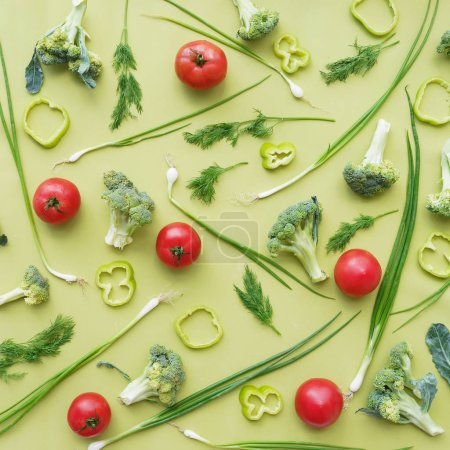 Photo for Vegetables pattern flat lay top view - Royalty Free Image