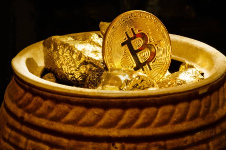 Photo for Golden bitcoin coin and mound of gold bitcoin cryptocurrency business - Royalty Free Image