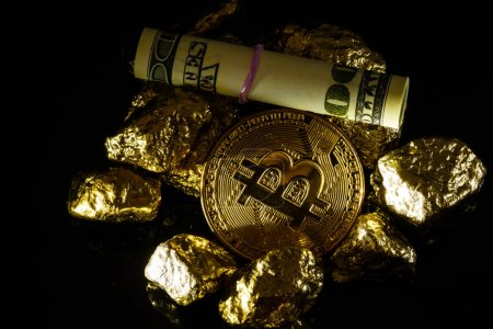 Golden bitcoin coin and mound of gold bitcoin cryptocurrency business concept