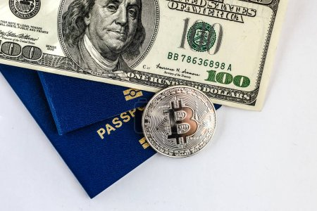 bitcoin virtual crypto currency financial concept pile of hundred us dollar