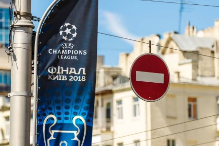 KYIV, UKRAINE - May 26, 2018: Cup of champions at the presentation of the official logo of the Champions League final female in 2018 in Kiev