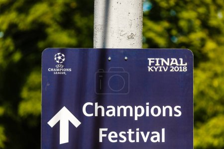 KYIV, UKRAINE - MAY 26 2018: Symbols of the Final of the UEFA Champions League in Kiev. Kyiv prepares to host the UEFA Champions League final match between Real Madrid and Liverpool at NSC Olympic