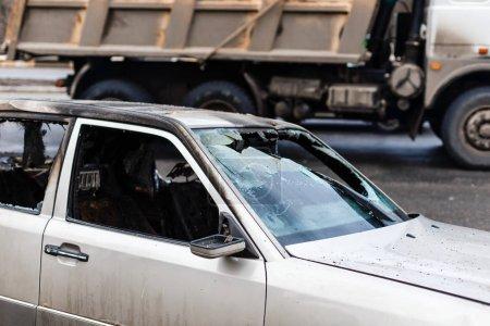 Crashed car with broken windshield transportation, accident concept