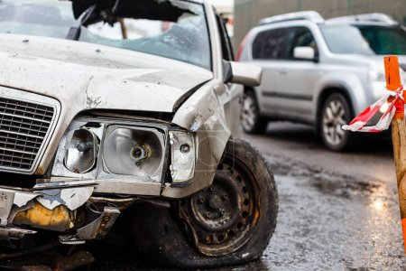 Car crash accident on street damaged automobiles after collision in city