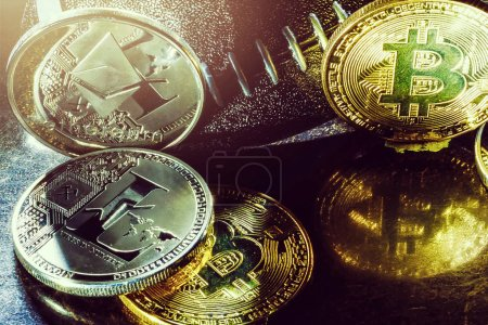 Photo for Golden cryptocurrencys Bitcoin, Ethereum, Litecoin and mound of gold, Business concept image - Royalty Free Image