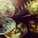 Golden cryptocurrencys Bitcoin, Ethereum, Litecoin...