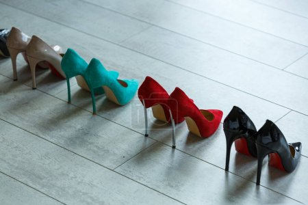 Women's multi-colored shoes with high heels