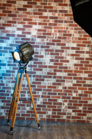 Old vintage projector indoor interior with brick wall loft style