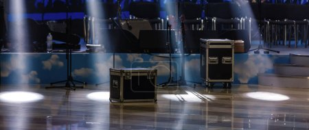Photo for Empty Stage with lights before concert - Royalty Free Image