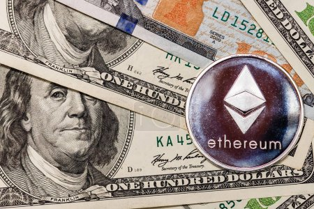 Ethereum crypto currency on dollar notes
