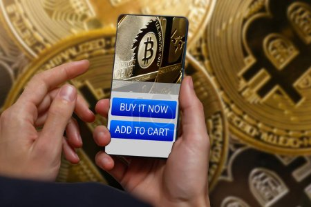 Bitcoin balance and transfer informations on smart phone screen cryptocurrency trading