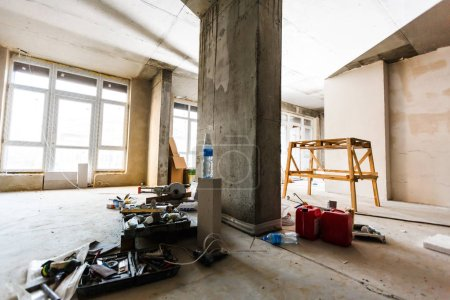 Material for repairs in an apartment is under construction, remodeling, rebuilding and renovation. Making walls from gypsum plasterboard or drywall.