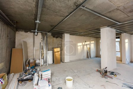 Dismantling of apartment interior before upgrade. Material for repairs in an apartment is under construction, remodeling, rebuilding and renovation