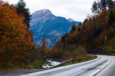 Photo for Scenic view of road through autumn mountains in cloudy day - Royalty Free Image