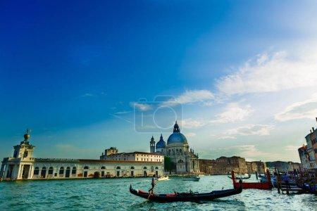 Gondolas on Canal Grande with Basilica di Santa Maria della Salute in the background, Venice, Italy