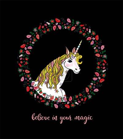 Illustration pour Belle carte de vœux avec licorne blanche embrassée avec couronne florale avec lettrage croire en votre magie isolée sur le fond noir. Illustration vectorielle pour cartes, invitations, décoration - image libre de droit