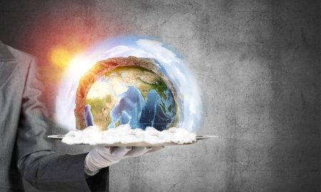 Photo for Cropped image of waitress's hand in white glove presenting Earth globe on metal tray with dark wall on background. 3D rendering. Elements of this image are furnished by NASA. - Royalty Free Image