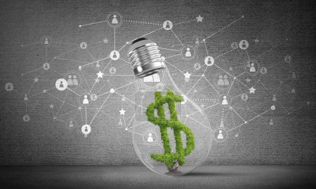 Lightbulb with green dollar symbol inside placed against sketched social network system on grey wall. 3D rendering.