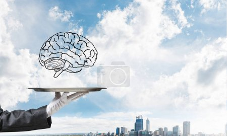 Cropped image of waitress's hand in white glove presenting sketched brains on metal tray with cityscape view on background. 3D rendering.