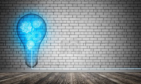 Blue glowing lightbulb with multiple gears inside placed in empty room with grey brick wall on background. 3D rendering.