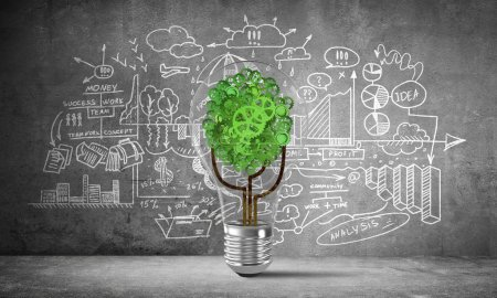 Photo pour Ampoule avec arbre à partir des engrenages à l'intérieur placée contre les informations analytiques d'affaires esquissées sur le mur gris. rendu 3D . - image libre de droit