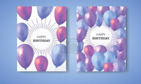 Photo pour Invitation card. Blue and violet realistic balloons filled with helium on blue background with text happy birthday. - image libre de droit
