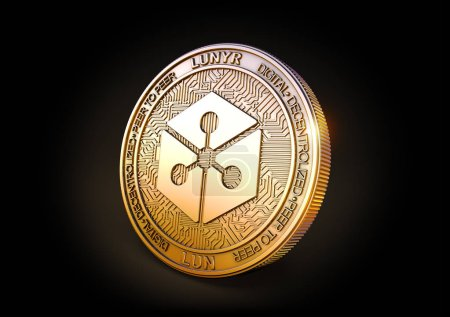 Foto de Lunyr LUN - Moneda de criptomoneda sobre fondo negro. Renderizado 3D . - Imagen libre de derechos