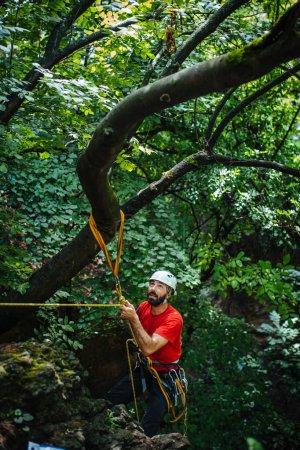 Climbing alpinist on mountain. Nature, travel
