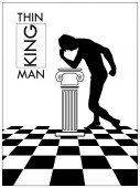 Vector illustration of the thinking man in an antique hall