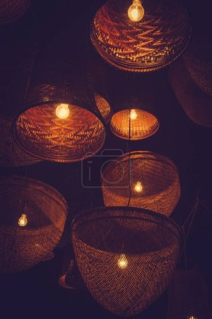 Photo for Wooden lamp Lighting and decorating. - Royalty Free Image