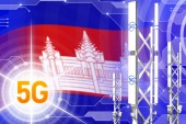 Cambodia 5G industrial illustration, big cellular network mast or tower on digital background with the flag - 3D Illustration