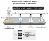 Determination of Molecular Weight of Carbon Dioxide by Gas Density infographic diagram showing a laboratory experiment with formula and calculation for chemistry science education
