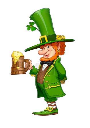 Photo pour Lutin de GNOME avec chope de bière. Conte de fées caractère irlandais pour Saint patricks day, fond blanc isolé. - image libre de droit