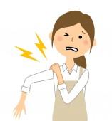 Woman wearing apron Shoulder pain/A woman in an apron is a shoulder pain illustration