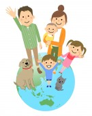 Good family and earth/An illustration of a good family standing on the earth