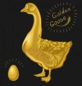 Golden Goose goose on a black background golden egg