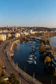Aerial view to harbor on Vltava river in Prague