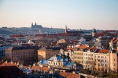 Prague city scenic panorama on sunset