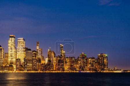 Photo for New York city Manhattan skyline cityscape at sunset from New Jersey. - Royalty Free Image